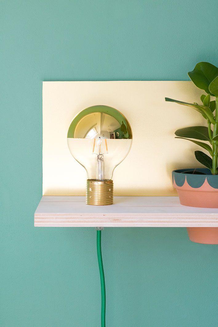 Wandplank Met Lamp.Diy Zwevende Wandplank Met Lamp Plantje Home Lampen