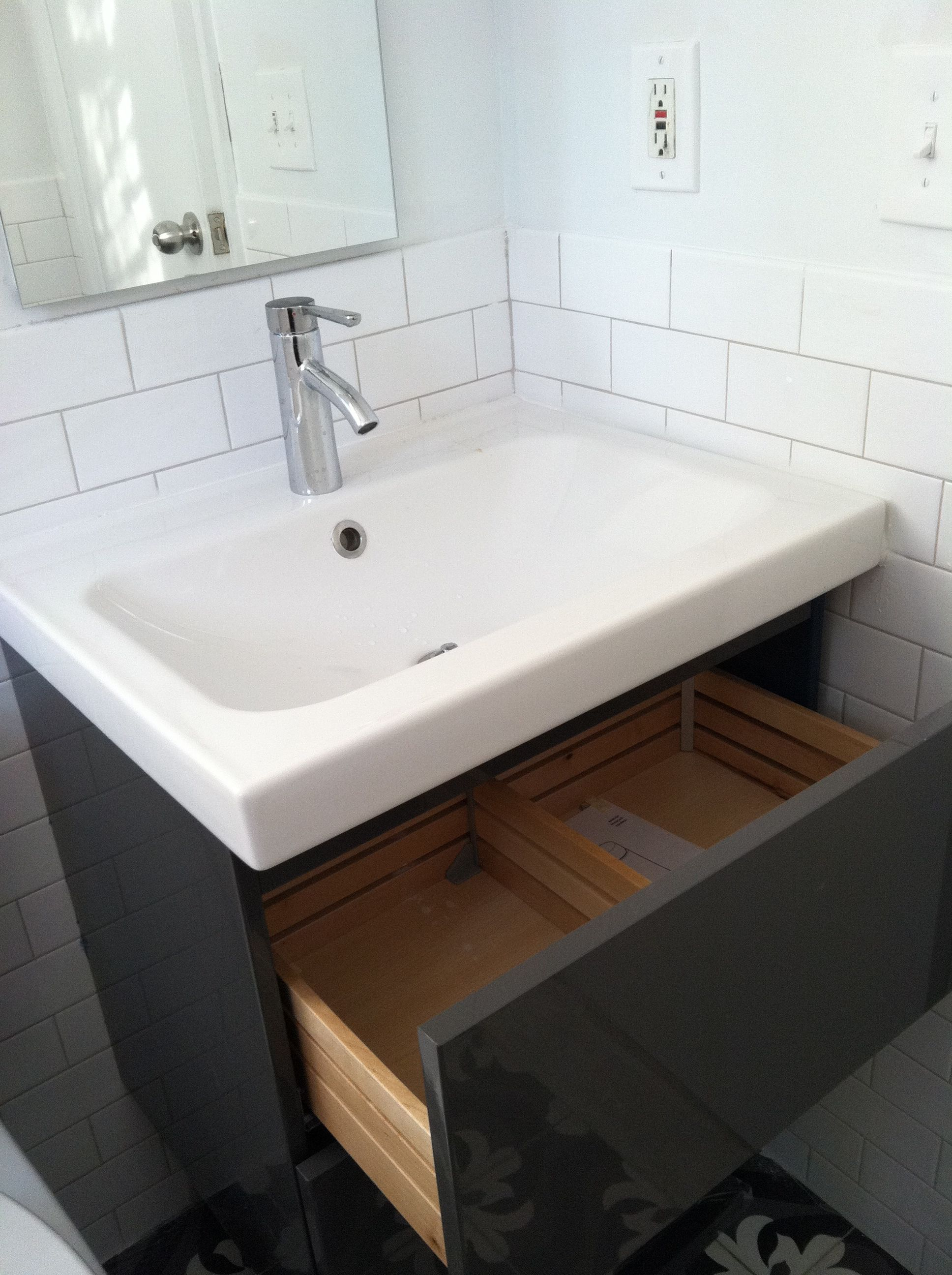Godmorgon vanity with odensvik sink and dalskar faucet - Vanities for small bathrooms ikea ...