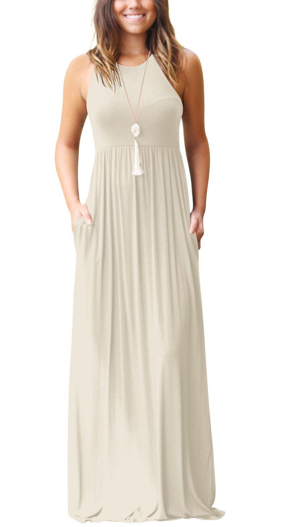 Hotmiss Womens Sleeveless Racerback Loose Plain Maxi Dresses Casual Long Dresses With Pockets Apriot Med Maxi Dresses Casual Plain Maxi Dress Maxi Dresses Fall [ 1698 x 990 Pixel ]