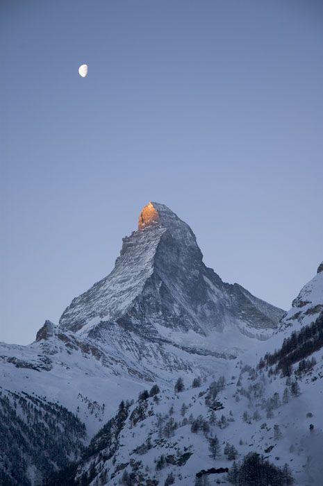 Morning in Zermatt, sunlight on Matterhorn