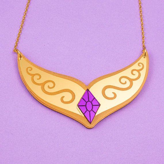 Princess Celestia MLP Pendant Necklace 18KG gold plated jewelry Heart shape Resin gloss Silver glitter