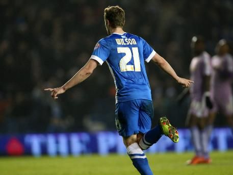 March 15th. 2016: James Wilson celebrates a goal for Brighton in a 1-0 win against Reading in the Championship.