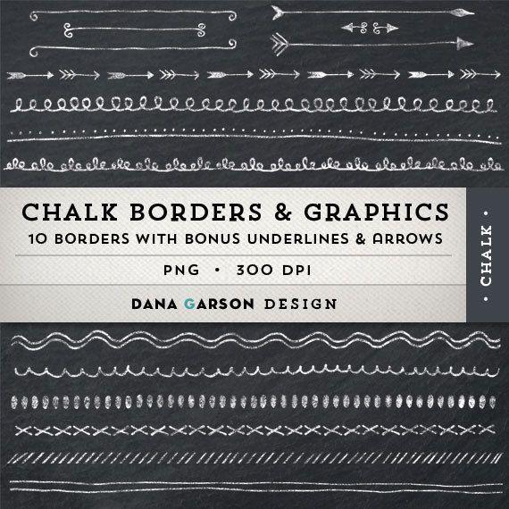 Chalk Borders With Bonus Chalk Arrows And By Danagarsondesign 4 00 Handwritten Type Clip Art Chalk Design