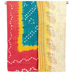 One-of-a-kind Kantha Quilt - Peacock Rock