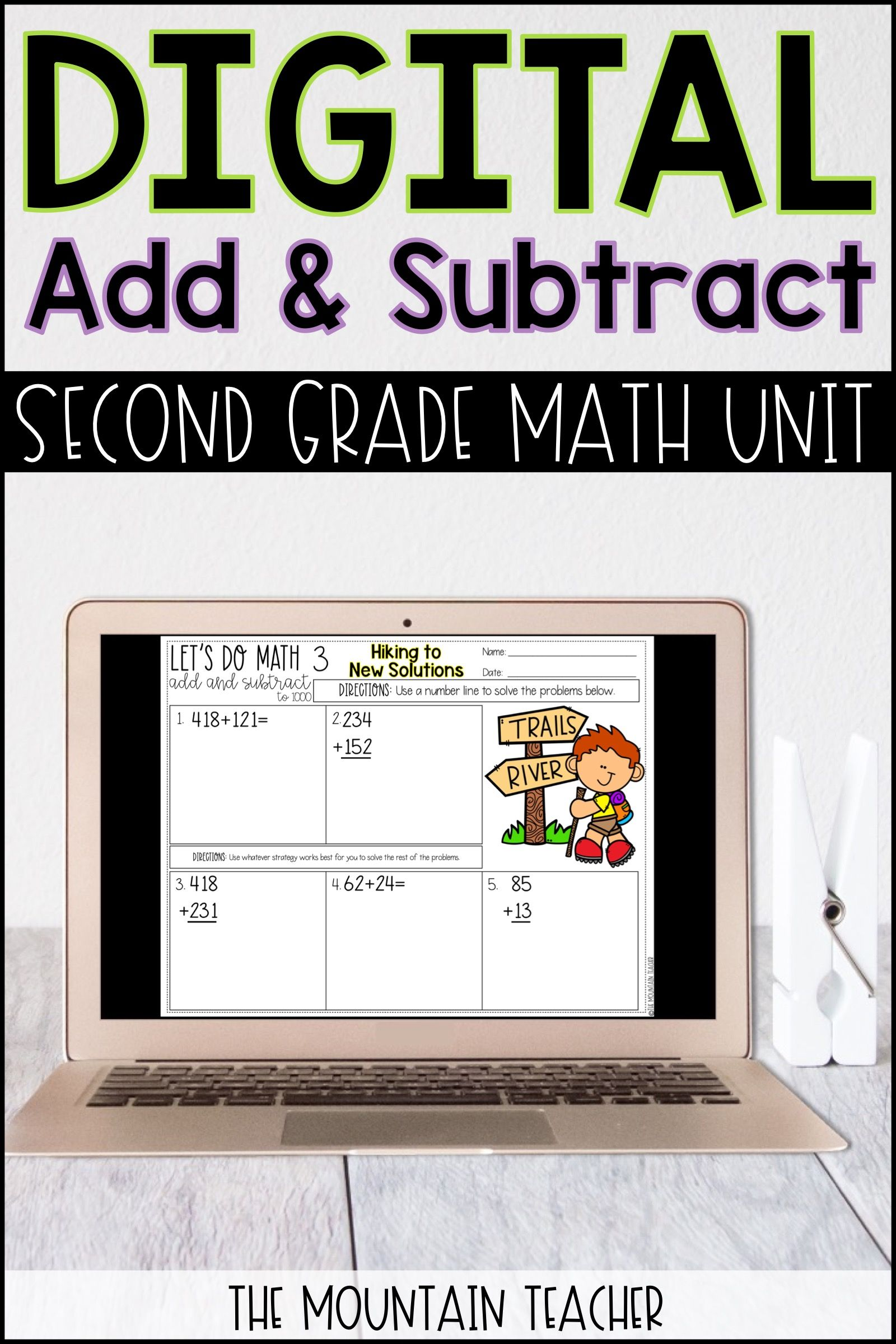 Digital Lets Do Math No Prep 2nd Grade Add And Subtract To 1000 Unit Elementary Math Lessons Teaching Schools Teaching Elementary