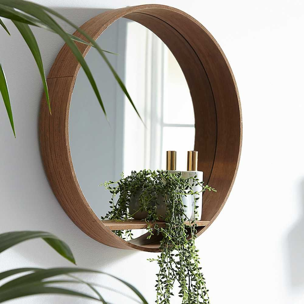 Wooden Mirror Shelf In 2020 Mirror With Shelf Mirror Decor Living Room Wooden Bathroom Shelves