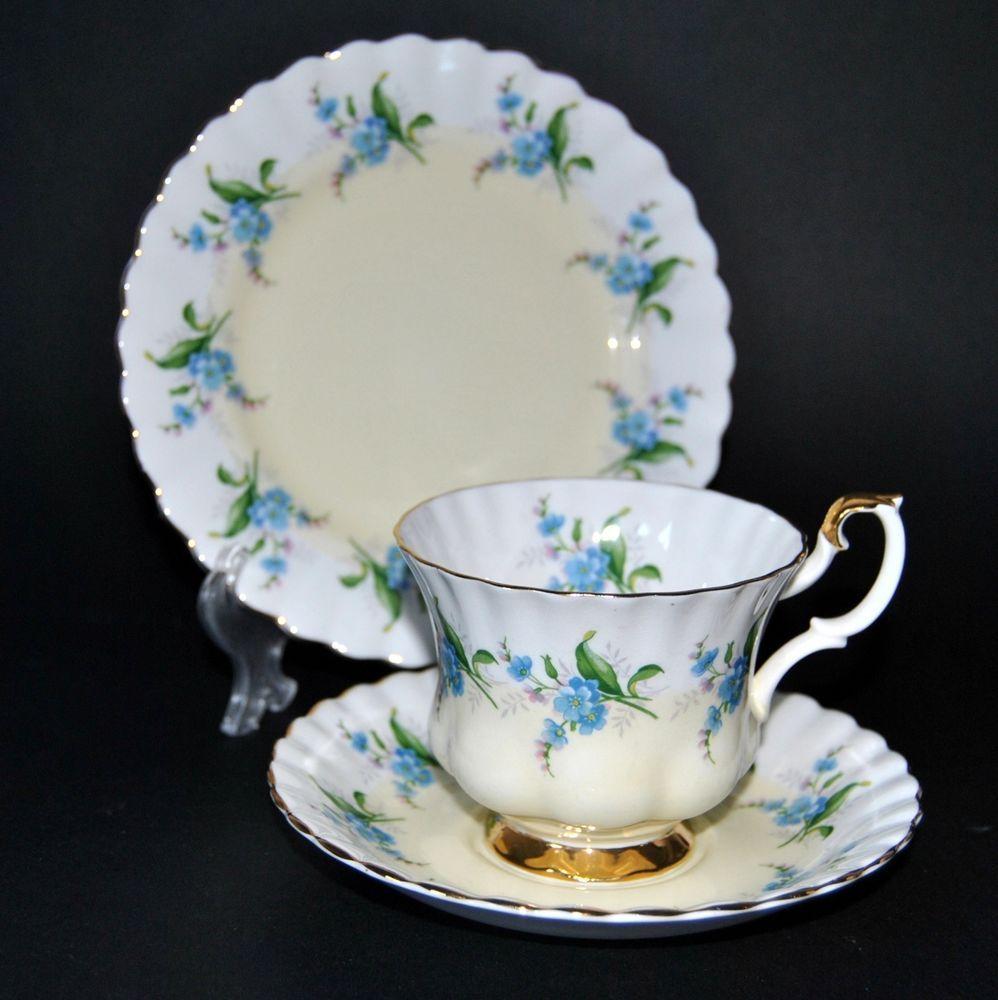 vintage royal albert lemon forget me not 4363 trio bone. Black Bedroom Furniture Sets. Home Design Ideas