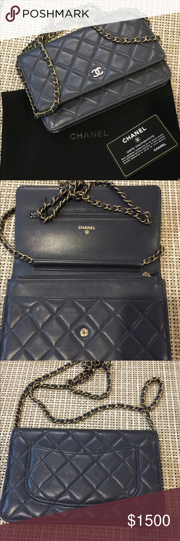 Chanel Chain Grey w/ Light Gold Hardware CrossBody Authentic Chanel Wallet on Chain Grey with Light gold Hardware CrossBody  Serial# 20XXXXXX Year Manufactured between 2014 to 2015 This gorgeous bag is in very good condition , very minor signs of wear  Comes with the original dust bag and Authenticity card No box  Don't miss the opportunity to add this bag at your collection  Serious Buyers  Good luck!!!! CHANEL Bags Crossbody Bags