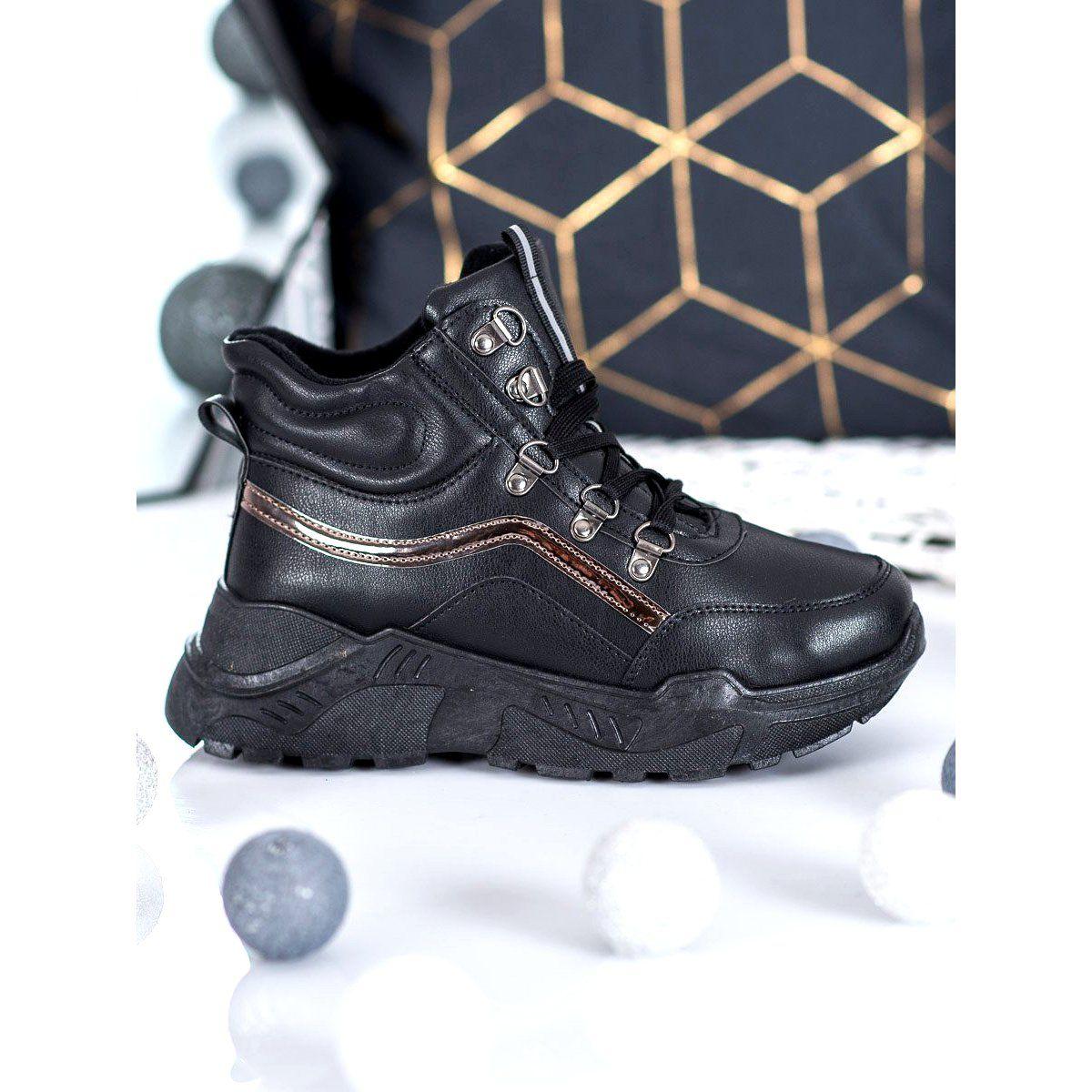 Queentina Ocieplane Sneakersy Czarne Oxford Ayakkabi Oxford Ayakkabilar