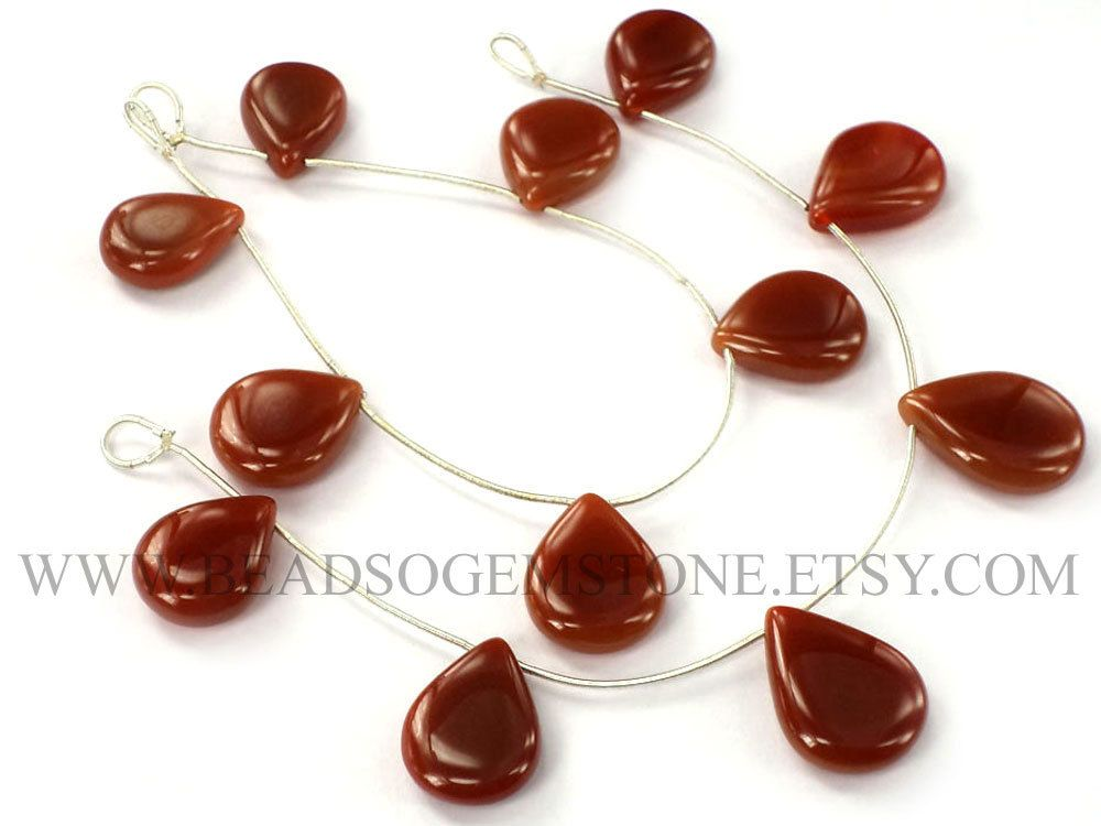 Red Onyx Smooth Pear (Quality A) / 13x16.5 to 16.5x23 mm / 18 cm / REDO-002 by beadsogemstone on Etsy