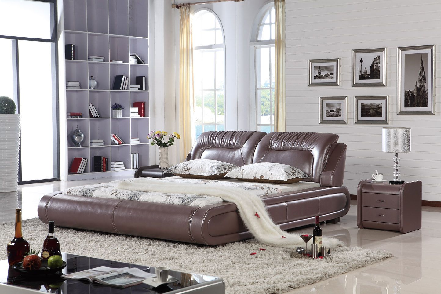 L H8048 340 Kingsize Bett Bed Factory Leather Camas King