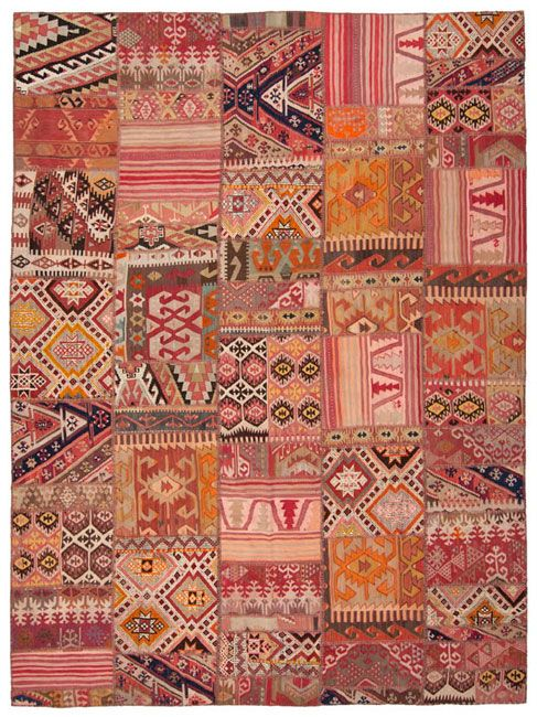 goodmemory:    apartmentdiet:    one of the gazillion rugs i love on loom.  patchwork corals, pinks, oranges, umber, reds in a rug 'mood board'
