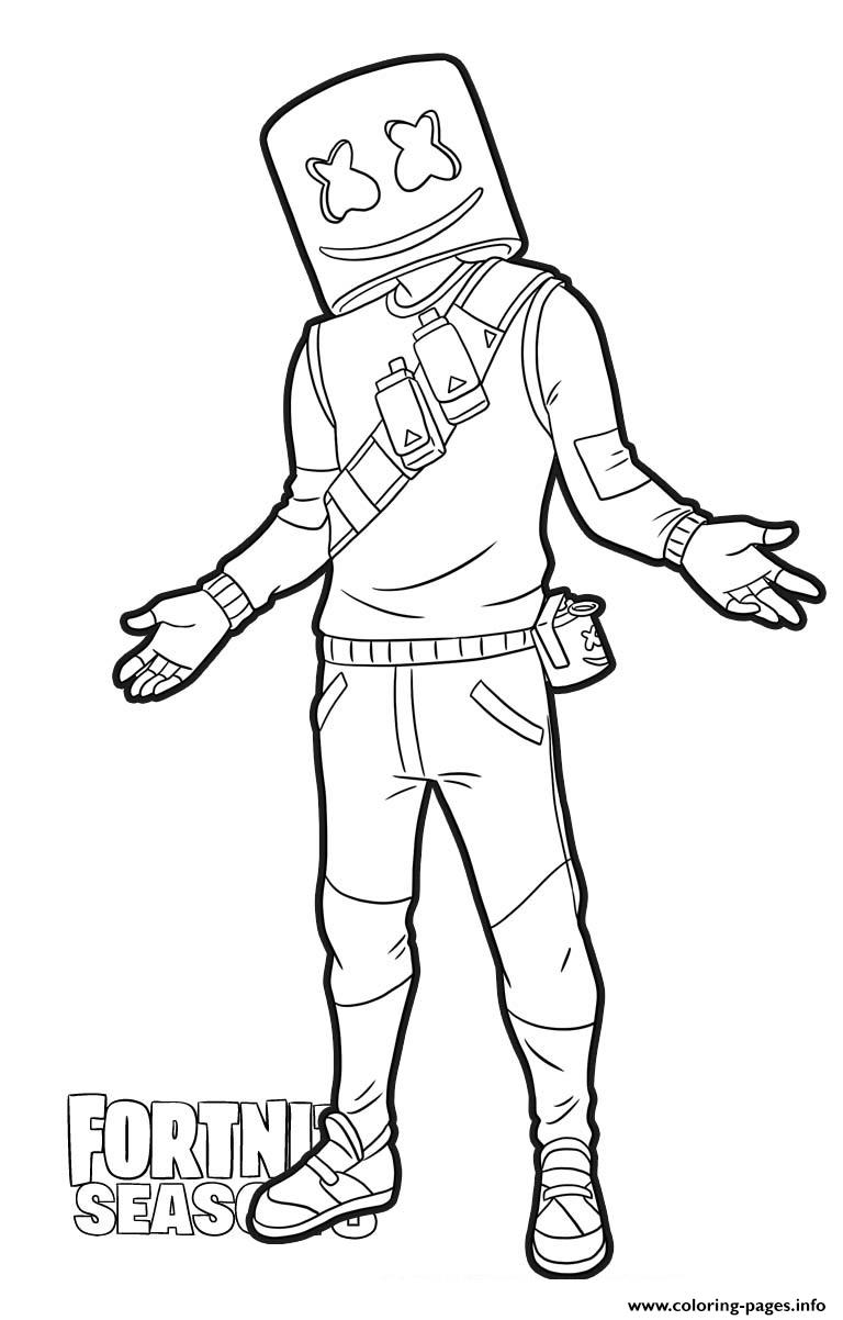 Marshmello From Fortnite Coloring Pages Printable Coloring Home Coloring Pages For Boys Cool Coloring Pages Avengers Coloring Pages
