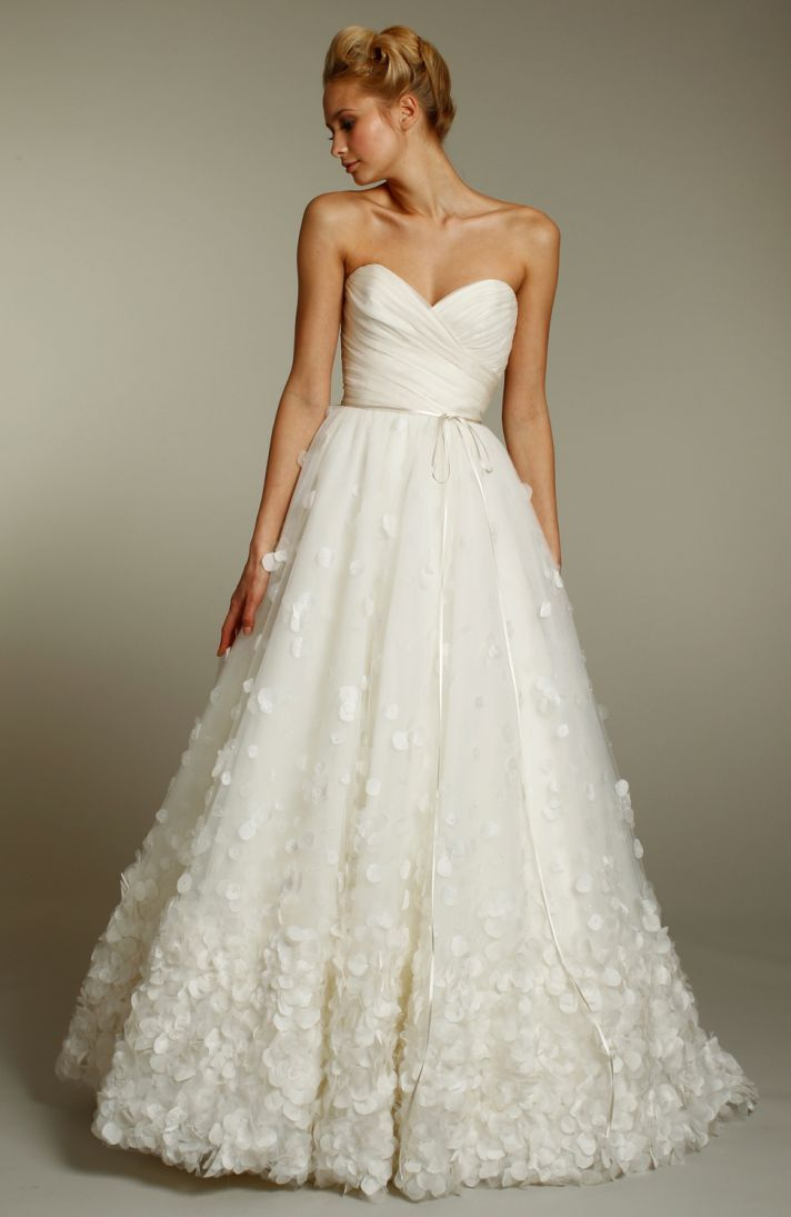 Cool Jim Helm Ivory a line wedding dress with sweetheart neckline and embellished skirt