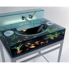 Glass fish tank bathroom sink, there are geniuses amongst us. I really will have this in my future home...