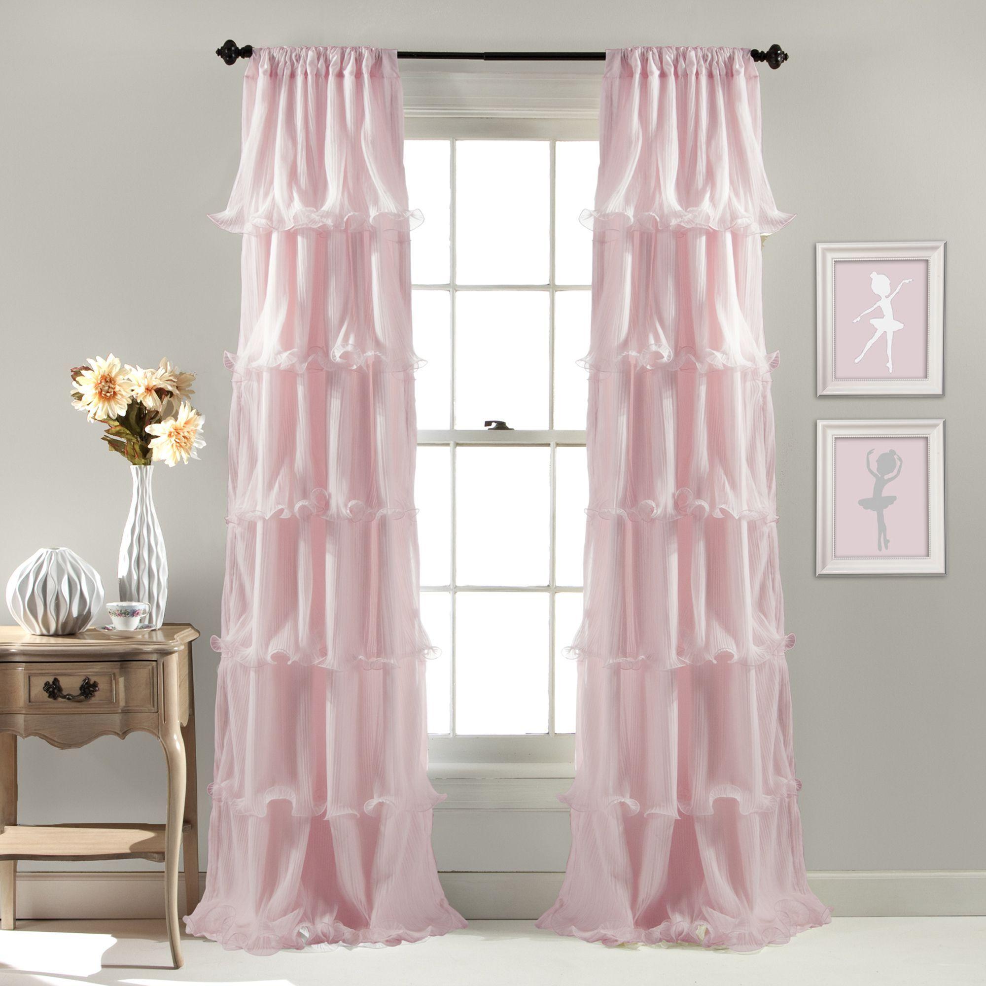 Lush Decor Nerina Ruffled Curtain Panel 54 W X 84 L Pink