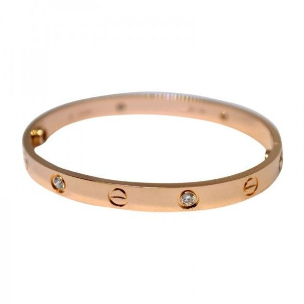 Preowned Cartier Love 18K Rose Gold Diamond Bracelet Size 17