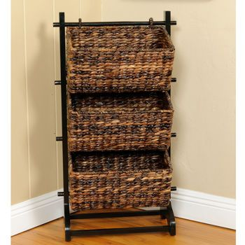 Nice New 3 Tier Abaca Fiber Organizer Three Bin Cubby Baskets With Solid Wood Frame In