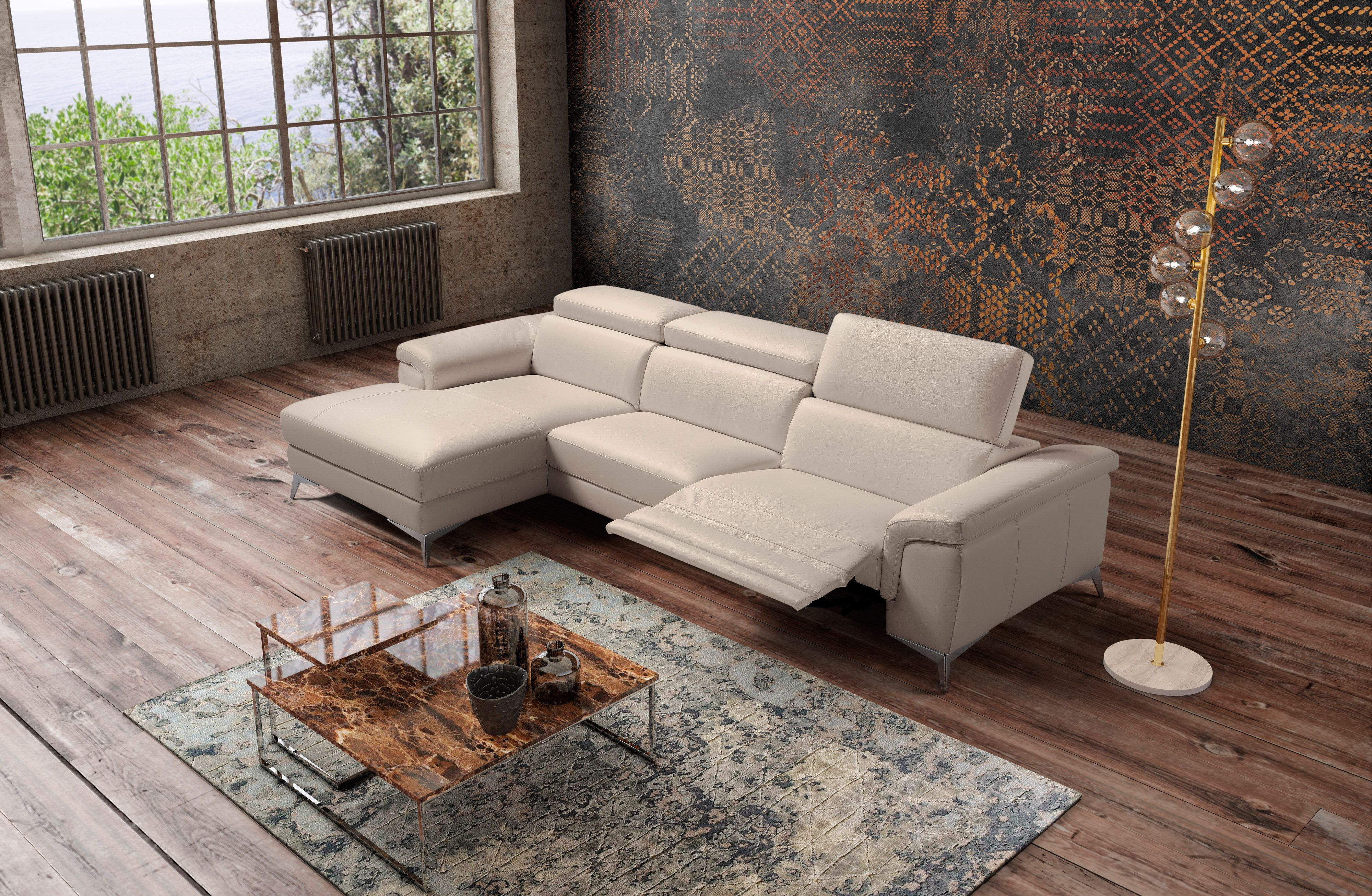 Stylish All Real Leather Sectional Italian Leather Furniture Italian Furniture Modern Contemporary Sectional Sofa