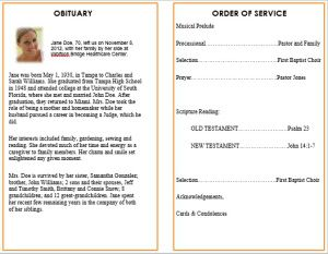 ideas for funeral service cards programs examples memorial