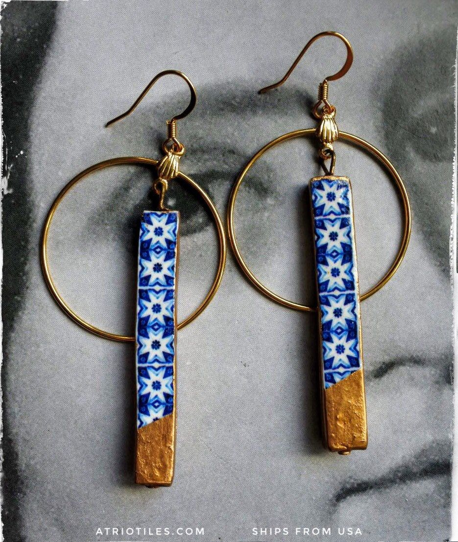 Earrings Tile CIRCLE BAR Atrio Gold Dipped Portugal Blue Azulejo Antique Port Lightweight Surgical Steel Ships from USA