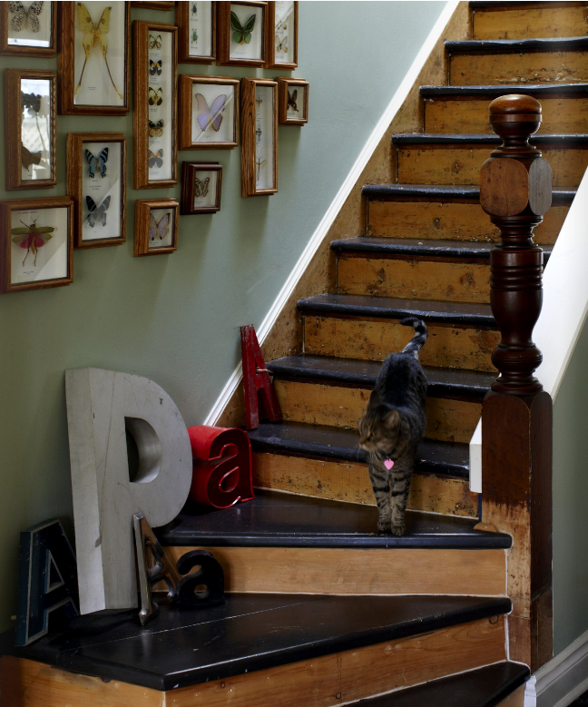 25 Pretty Painted Stairs Ideas: Rustic Staircase With Butterflies, Letters, And Cat! (From