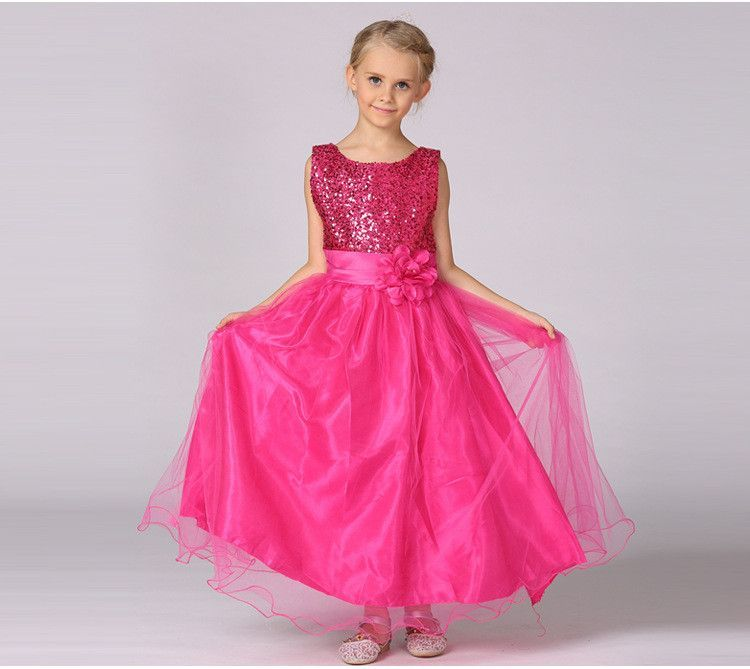 338742b68bb Baby Girls Kids Toddler Children Princess Formal Full Long Tutu Party  Evening Wedding Birthday Dress Clothes Lace Sequins Flower
