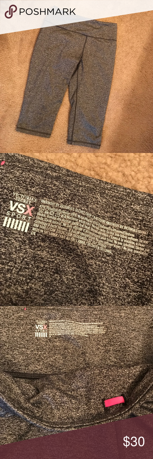 🎉 ON SALE 🎉 VS Knockout Crop - Like New Like knew, only worn a handful of times & are in perfect condition. No pilling or any damage. Drawstring in waistband. Reflective VSX label on back of leg. Willing to consider reasonable offers. Victoria's Secret Pants Leggings