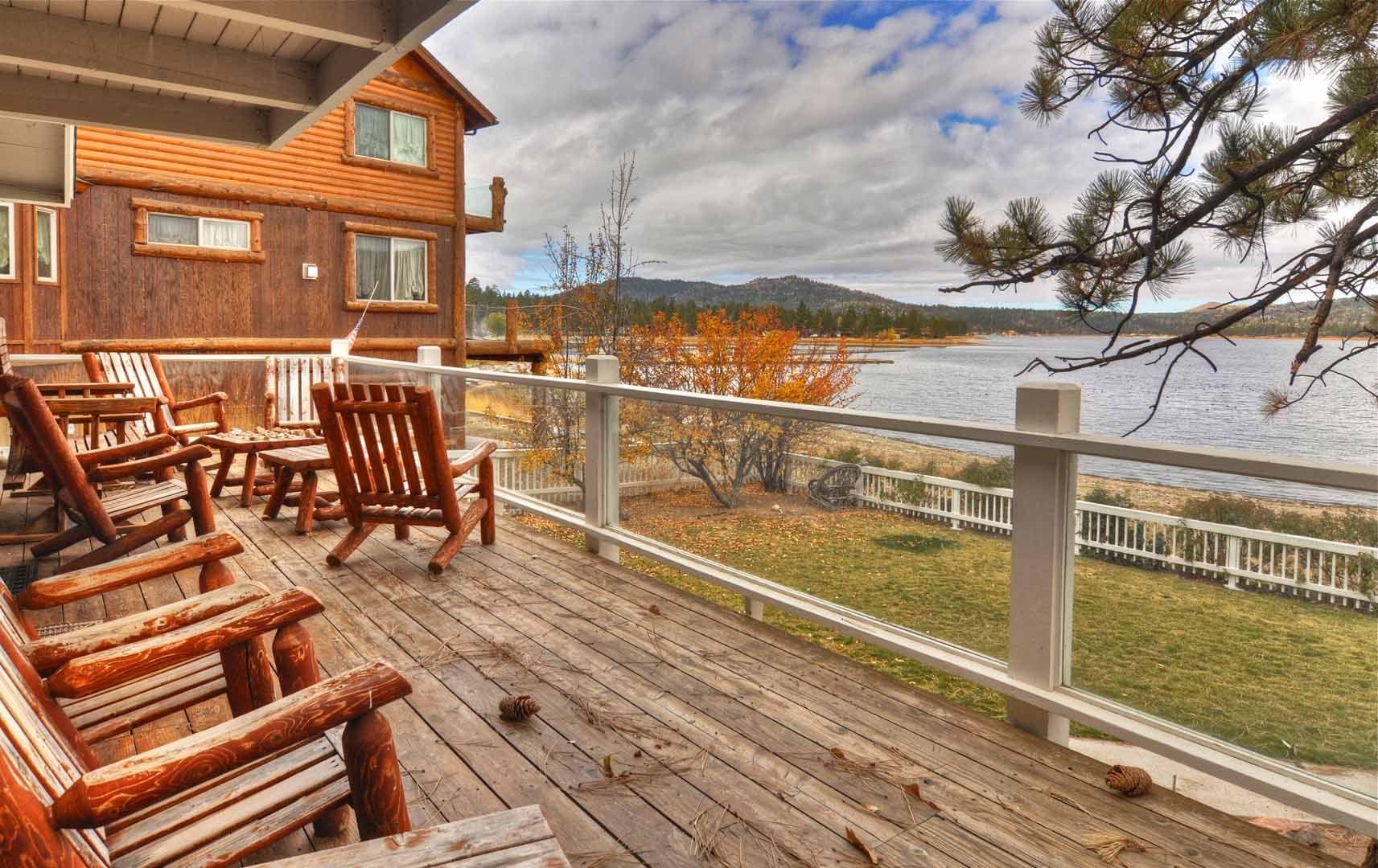Glorious view of the lake at a big bear lake dream cabin