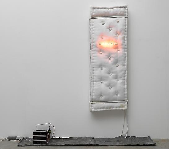 Pier Paolo Calzolari Combustio, 1970 Flannel mattress, red neon, refrigeration unit, refrigerator motor, transformer, lead 108 1/4 x 94 1/2 x 19 2/3 inches 275 x 240 x 50 cm