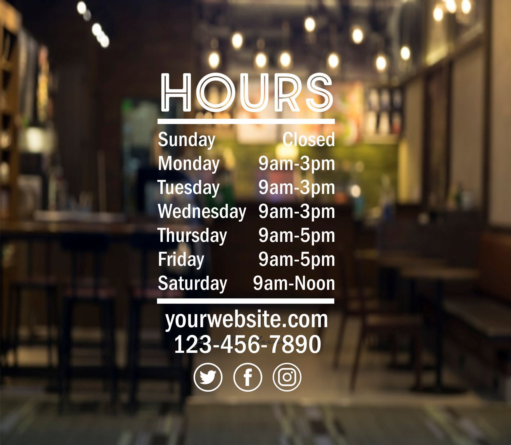 Store Hours Decal, Business Hours Of Operation Window Sign