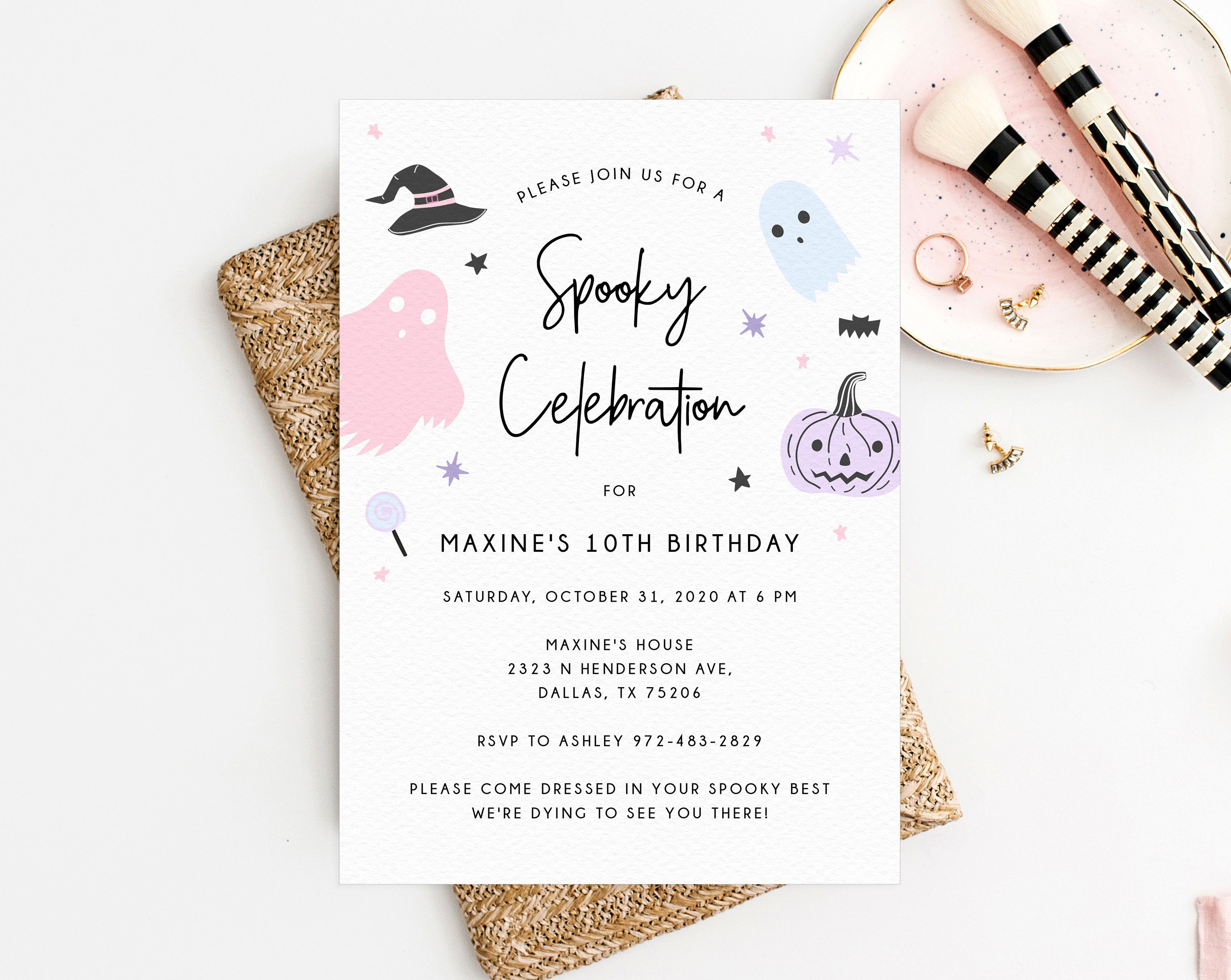 1st Ave Halloween Party 2020 Halloween Party Invitation Template, Printable Pastel Halloween