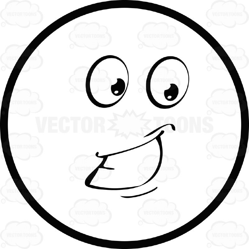 Smiling Large Eyed Black And White Smiley Face Emoticon With Cheek And Lower Lip Details Emoticon Black And White Smiley Face