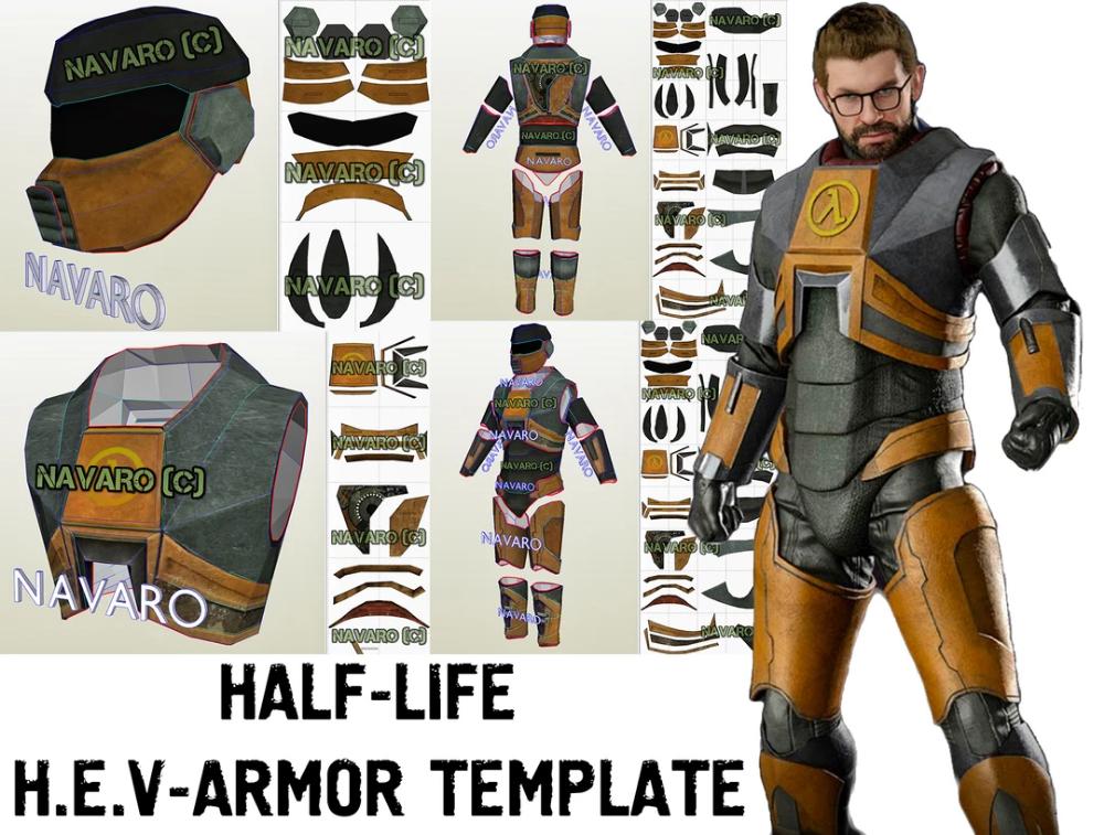 Half Life Armor Foam Template Hev Suit Template Gordon Freeman Cosplay Half Life Pepakura Hev Suit Cosplay Cosplay Armor Diy Iron Man Cosplay Cosplay Armor Master Chief Armor