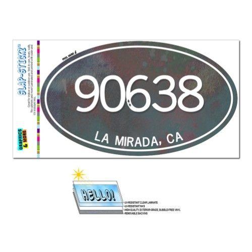 90638 La Mirada, CA - Metal (Grey) Design - Oval Zip Code
