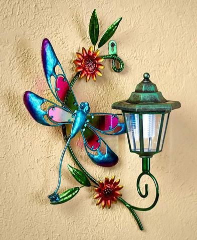 Solar Wall Light Garden Porch Patio Metal Glass Lantern Lawn Decor ...