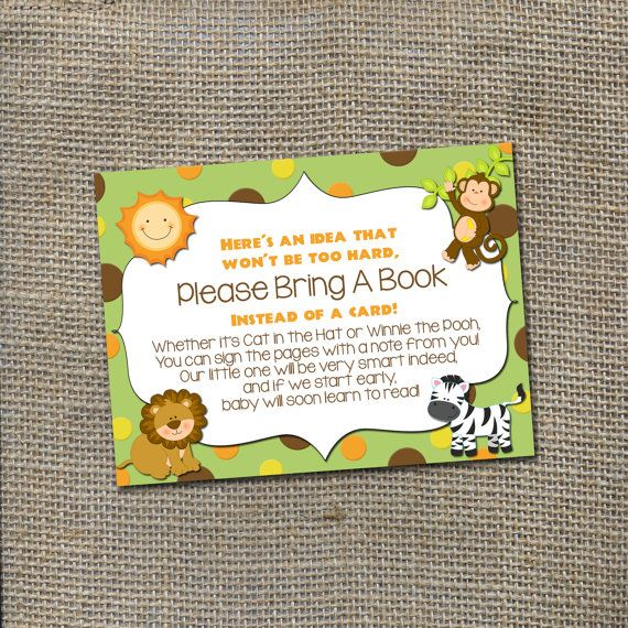Please Bring A Book, Instead Of A Card! Jungle Safari Baby Shower Theme  Invitation Insert Card, DIY Printable Digital File Instant Download