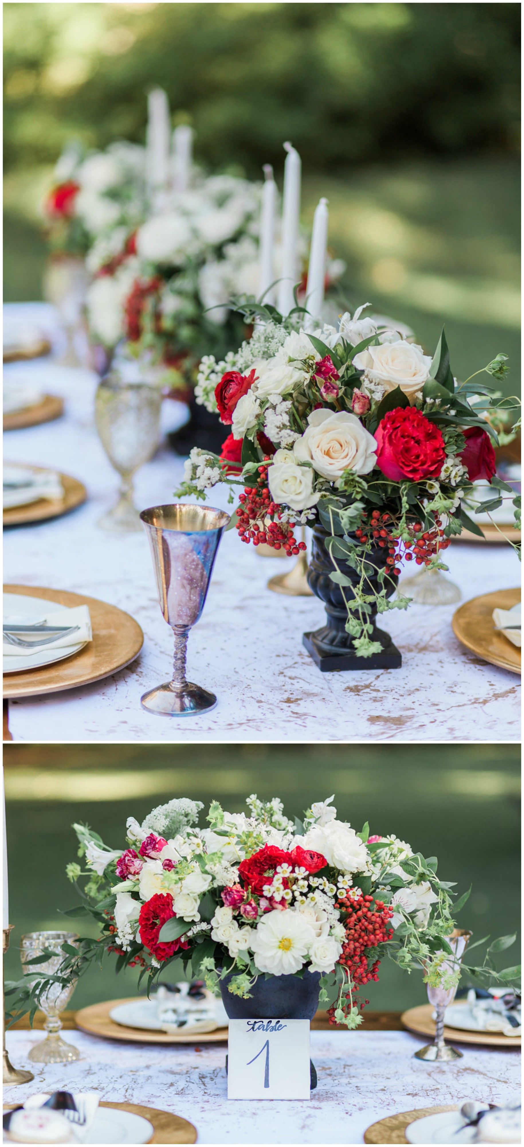 Red and black wedding decor  Romantic Al Fresco Styled Shoot with Crimson Blooms  Somis CA