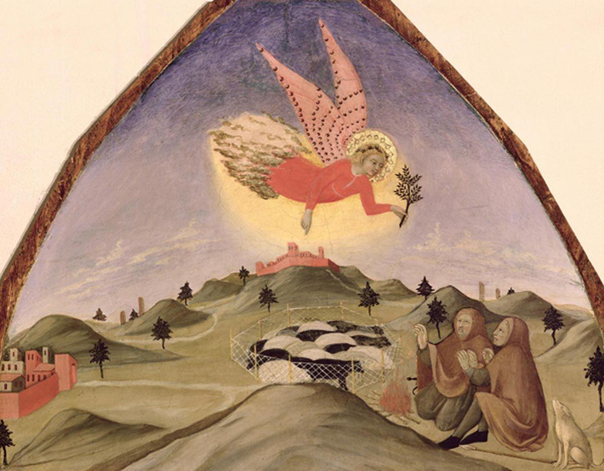 Sano di Pietro - L'Annuncio ai pastori - Olio su tavola - Pinacoteca Nazionale, Siena, Italia