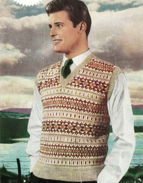 Vintage Visage Repro 1950s Fair Isle Mens Pullover To Knit Knitting
