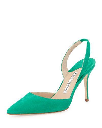 87093ea5a7734 X2ZWJ Manolo Blahnik Carolyne High-Heel Suede Halter Pump, Green ...