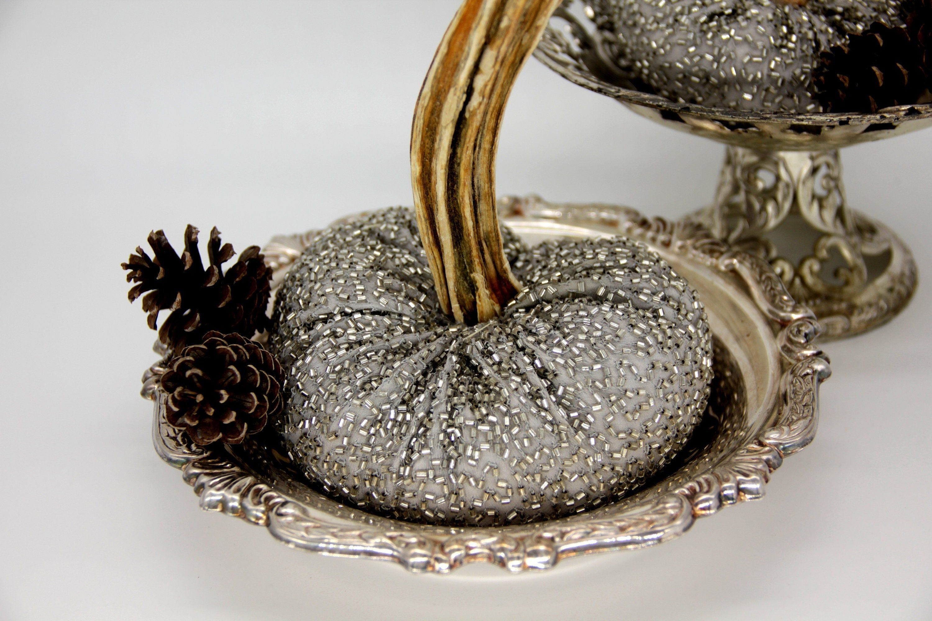 For The Elegant Look Silver On White Pumpkins White Pumpkins Cinderella Pumpkin Pumpkin Decorating