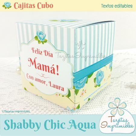 Cajitas cubo Shabby Chic AQUA