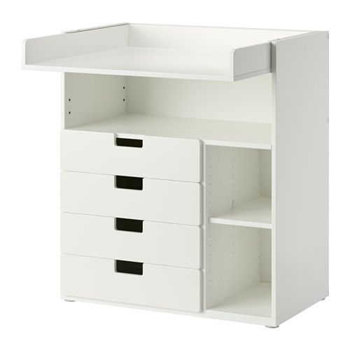 Stuva table langer 4 tir blanc espace de placards la hauteur et grandir - Table a langer petit espace ...