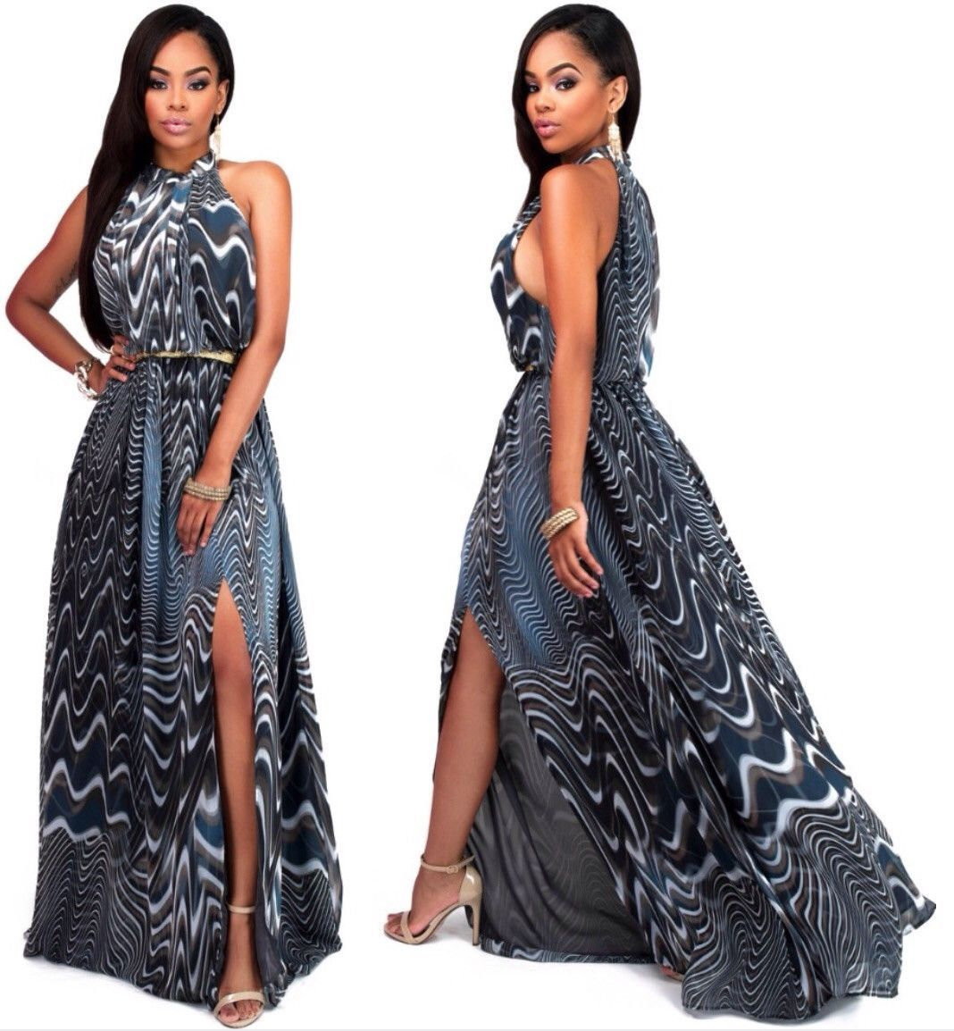 fashion sleeveless elastic print maxi dress women floor