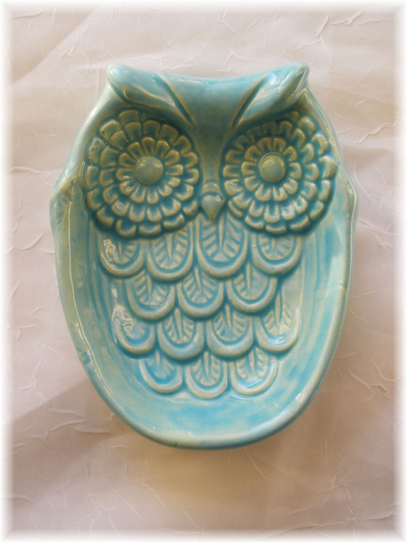 owl spoon rest soap dish home decor by angelheartdesigns 15 00