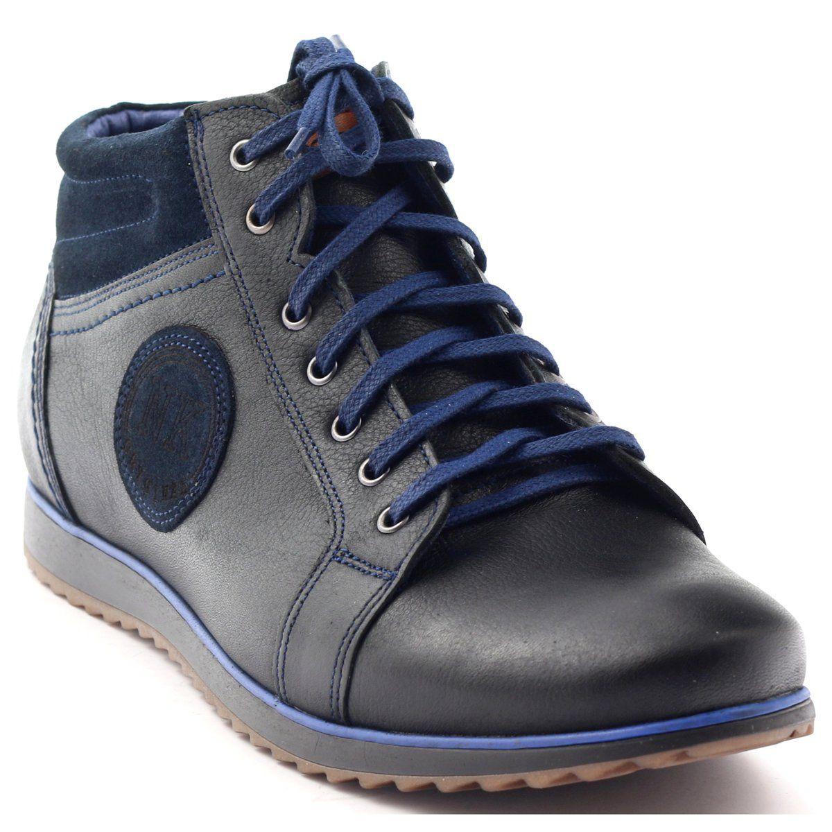Trzewiki Meskie Zimowe Nikopol 653 Czarne Granatowe High Top Sneakers Hiking Boots Boots