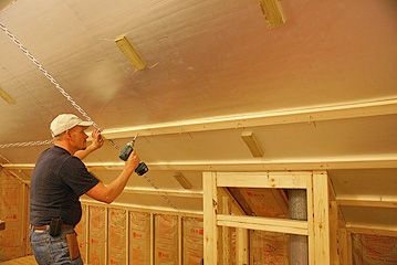 Installing 1x3 furring strips to sloped ceiling to hold foam