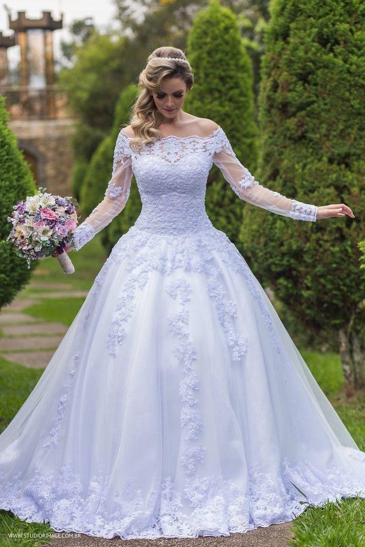 Elegant Lace Long Sleeves Wedding Dresses Appliques Beaded New
