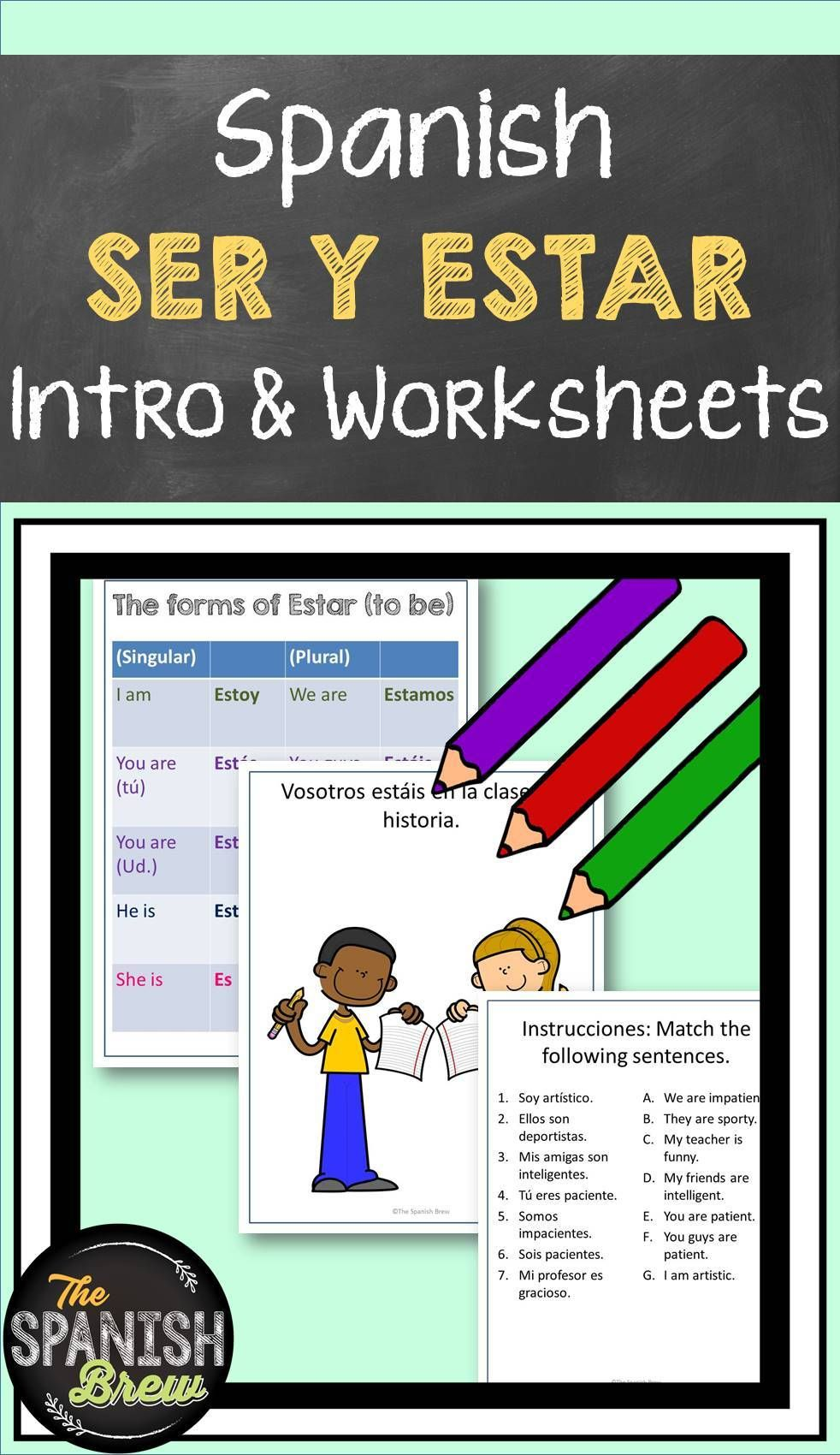 Ser And Estar Introduction And Practice Worksheets Spanish Students Teaching Spanish Language Activities [ 1700 x 982 Pixel ]